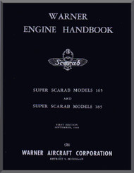 Warner Super Scarab 165 - 185   Aircraft Engine Handbook Manual  ( English Language )