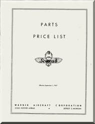 Warner Scarab   Aircraft Engine Parts Price List Manual  ( English Language )