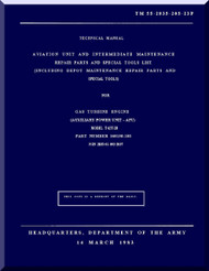 Solar T-62T-2B; Technical Manual Aviation Unit and Intermediate Maintenance Repair Parts and Special Tools List;  Dated 14 March 1983; TM 55-2835-205-23P