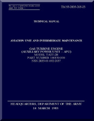 Solar T-62T-2B; Technical Manual Aviation Unit and Intermediate Maintenance; Dated 14 March 1983; TM 55-2835-205-23