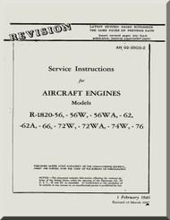 Wright R-1820 -56 -56W -56WA -62 -62A -66 -72W -72WA -74W -76   Cyclone Aircraft Engine Service Instructions Manual  ( English Language )