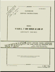 Rolls Royce Packard Merlin 1650 -3 - 7 Aircraft Engine Service Manual - 02-55AC-2 -1947