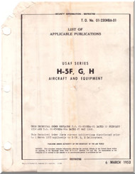 Sikorsky  H-5 F G H  Helicopter Handbook List Of Applicable Publications Instructions AN 01-23OHBA-01