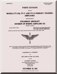 Stearman Aircraft Parts Catalog  for Army Model  P-13B, -17 and -18  Airplane  Manual   T.O. 01-70AB-4,  1941