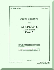 Nooduyn Norseman C-64 A Aircraft  Parts Catalog  Manual AN  0155CB-4, 1945