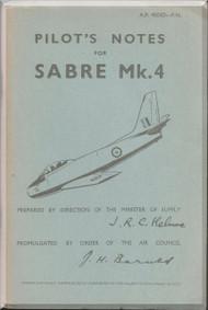 Canadair CL-13 Sabre Mk.4  Aircraft  Pilot's Notes Manual  - AP 4503D PN