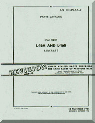 Aeronca L-16 A and L-16 B   Aircraft Parts Catalog  Manual, No. 01-145LAA-4,  1948
