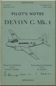De Havilland Devon C. Mk 1 Aircraft Pilot's  Notes Manual