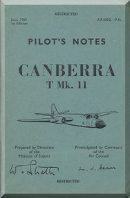 English Electric Canberra T Mk.11  Aircraft  Pilot's Notes Manual  AP 4326L