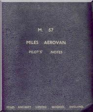 Miles  Aerovan M.57 Aircraft  Pilot's Notes Manual