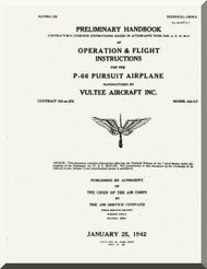 Vultee  P-66 Preliminary Handbook  Operation and Flight  Manual - T.O. 01-50FA-1 , 1942