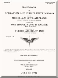 Vultee  A-31, V-72 Operating and Flight Instruction Manual - T.O. 01-50AB-1 - 1942