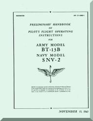 Vultee   BT-13 B  SNV-2  Preliminary Handbook of pilot's Flight Operating instructions  Manual - AN 01-50 BD-1 ,1943