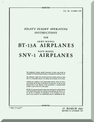 Vultee   BT-13  A,  SNV-1, Pilot Flight Operating Instructions  Manual -  T.O. 01-50BC-1-95 ,1945