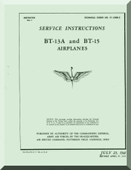 Vultee   BT-13  A, BT-15, , Airplane Service Instructions  Manual -  T.O. 01-50BB-2,1939