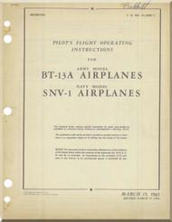 Vultee BT-13A SNV-1   Aircraft Pilot Flight Operating Instructions Manual