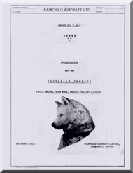 """Fairchild F-11 """" Husky """"  ,  Aircraft  Specification Instructions Manual  Report F-11-1, 1945"""