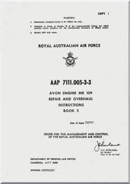 Rolls Royce Avon Mk 109  Aircraft Engine Repair and Overhaul Manual  Book 3