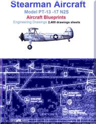 Stearman PT-13 -17 N2S Aircraft Blueprints Engineering Drawings - Download