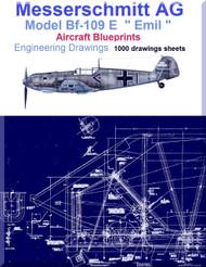Messerschmitt Bf-109 E Aircraft Blueprints Engineering Drawings - DVD