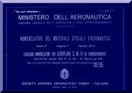 Savoia Marchetti S..M.79 Aircraft Illustrated Parts Catalog  Manual, Catalogo Nomenclatore ( Italian Language )  - 1940