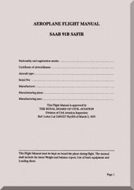 SAAB 91 B Safir Aircraft  Flight  Manual,  ( English Language ) ,