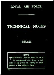 Royal Aircraft Factory B. E. 12A  Aircraft  Technical Notes  Manual -  ( English Language )