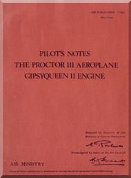 Percival Proctor III  Aircraft  Pilot's Notes Manual