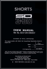 Short SD 3-30 Aircraft  Crew Manual -  ( English Language ) - 1975
