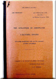 Short Singapore  III Aircraft  Pilot's Notes Manual -  ( English Language ) , AP 1479 , 1954