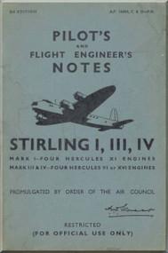 Short Stirling  Mk. III IV  Aircraft  Pilot's  Notes Manual AP 1660 A  C D