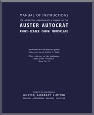 Auster Autocrat Aircraft Instructions Maintenance & Rigging   Manual