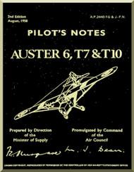 Auster 6 T7 & T10  Aircraft Instructions Pilot's Notes Manual