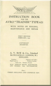 "A. V. Roe Avro  621 "" Trainer "" Aircraft Instructions Book   Manual"
