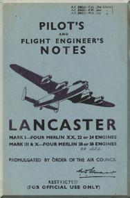 A. V. Roe Avro 683 Lancaster Aircraft  Pilot's Notes Manual