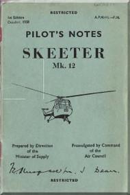 Saunders Roe Skeeter  Mk.12 Helicopter Pilot Notes  Manual