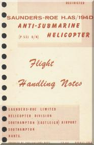 Saunders Roe Skeeter H. AS /194 D Helicopter Flight  Notes Manual