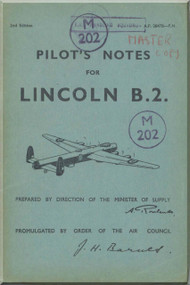 A . V. Roe Avro Lincoln Aircraft  B.2 Pilot's Notes Manual