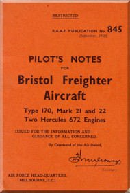 Bristol 170 Freighter  Aircraft  Pilot's Notes Manual - 1950