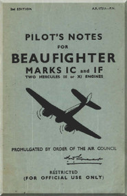 Bristol Beaufighter Mk. IC IF  Aircraft Pilot's Notes Manual