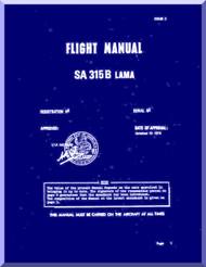Sud Aviation  / SNCASE SA-315 B  Lama  Helicopter  Flight  Manual