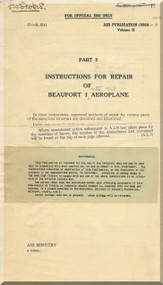 Bristol Beaufort II Aircraft  Instruction Repair  Manual  - 1941