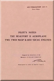 Bristol Beaufort II Aircraft  Pilot's Notes Manual
