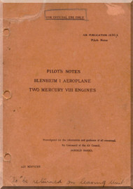 Bristol Blenheim I  Aircraft Pilot's Notes Manual -   A.P 1530 A