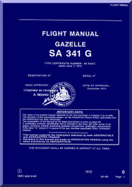 Sud Aviation  / SNCASE SA-341  G  Gazelle Helicopter  Flight Manual - English