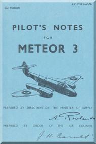 Gloster Meteor 3 Aircraft Pilot's Notes Manual