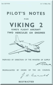 Vickers Viking 2  Aircraft  Pilot's Notes Manual -  A.P. 41708 -P.N.