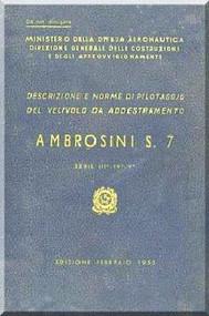 Ambrosini S.7 Aircraft Flight Manual, ( Italian Language ) CA 728, 1955