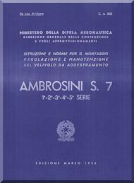 Ambrosini S.7 Aircraft Maintenance Manual, ( Italian Language ) CA 802, 1954