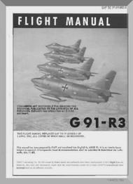 Aeritalia / FIAT G-91 R3 Aircraft Flight  Manual, ( English Language ) GAf 1F-G91-R3-1 , 1963-1964